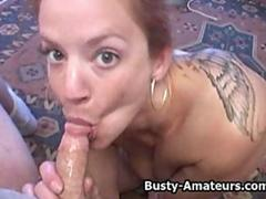 Busty amateur chick masturbating and sucking on cock