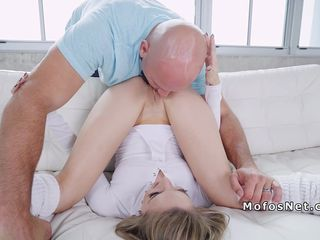 Blonde spinner cunt licked in the air