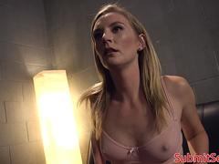 Blonde restrained sub get double penetration