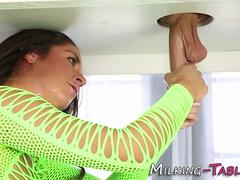 Babe jerks gloryhole dick