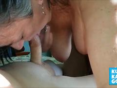 Nice bj with tits hanging