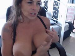 Cougar with big natural boobs gets order to cum