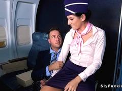 Stewardess fucks in business class