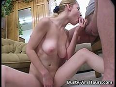 Busty Candace sucking white stiff cock