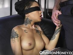 CrushGirls - Petite Honey Gold blindfolded and fucked