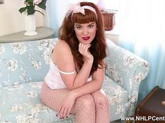 Redhead babe Zoe Page teases in hot crotchless fishnet pantyhose showing her tight pussy
