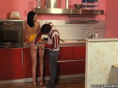 Teens Analyzed - Katy - Teeny ass on the kitchen table is a delicious dish