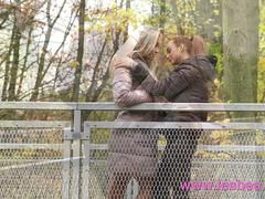 Lesbea Pert petite Russian nymphette in fishnet stockings fucks blonde