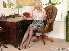 Busty blonde Penny Lee strips down to sexy lingerie sheer vintage nylons for expert handjob help