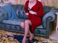 Dirty blonde Lucy Lauren masturbates in vintage brown nylons and stilettos with garter suspenders