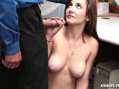 Jade Amber stripped and blowjob the LP Officers big cock