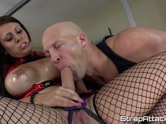 Strapon femdom bounces on subs dick