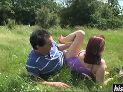 Cute girl rides a dick outdoors