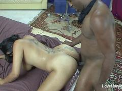 Curvylicious ebony stripper banged in bed