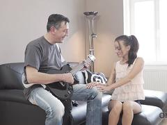 OLD4K. Lovely chick wasnt against sex with handsome old guitarist