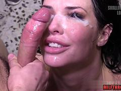 Bukkake cum facial on milf