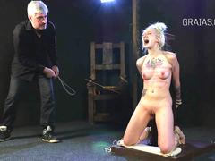 Faithful slave begs for breast whipping