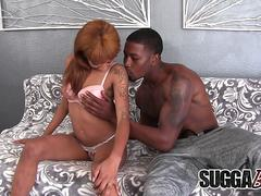Ebony Cutie September Reign Has a Monster Cock Jammed in Her Mouth and Cunt