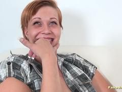 Green-eyed cutie fucked on casting