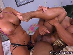 domina strapon fucks ass interracial