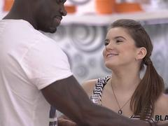 BLACK4K. Cute Evelina celebrates her BD with new black fellow