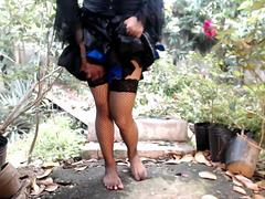 Outdoors sissy Ladyboy dick shaking it