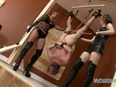 Ballbusting clip with two dominas