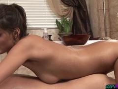 Busty masseuse grinds on lucky customer