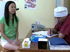 Lusty Old Doctor Destroys the Tight Pussy of His Asian Patient