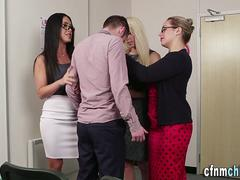 Clothed teachers jizz rod