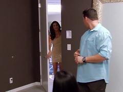 Jessica visits new swingers in their room to congratulate swinger husband