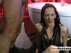 European slut is pissed on and banged hard by two horny men