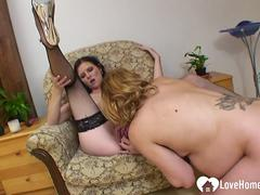 Pregnant babe tries out some lesbian action