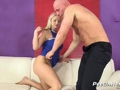 Piss In Mouth - Busty blonde gets washed in golden piss