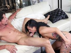 Tattooed milf babe cockriding on the couch