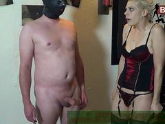 Blond femdom in black stockings during rough german spanking fetish session