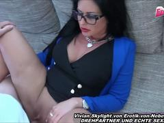 Black hair german secretary with glasses get pussy cumshot after sex with young neighbor
