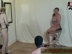 German slave with nylon and foot fetish during painful threesome domina session