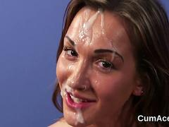 Frisky doll gets jizz load on her face swallowing all the sperm