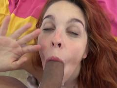 POV Cock Sucking Redhead Takes Facial