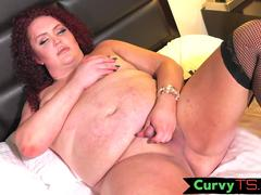 SSBBW shemale jerking her dick in stockings