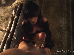 Big boobs 3D babe gives blowjob and fucks in Skyrim