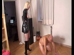 Femdom Brats kick slaves with boots