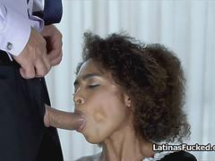 Spicy Brazilian maid spreads wide for cock