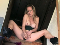 Kinky blonde Naughty Tinkerbell fucks pussy with big old sweeping brush for huge orgasm