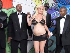 Busty Blonde Cindee Gets Enjoys Interracial Gangbang