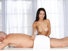 Josey Jagger milks a massage clients big cock