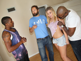 Small titted blonde Melissa May having fun with black dudes in front of her father