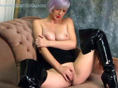 Babe with big natural tits fingers amazing big pink juicy pussy flaps in slutty black leather boots