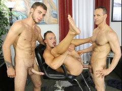 Big dick 3way in a barber shop